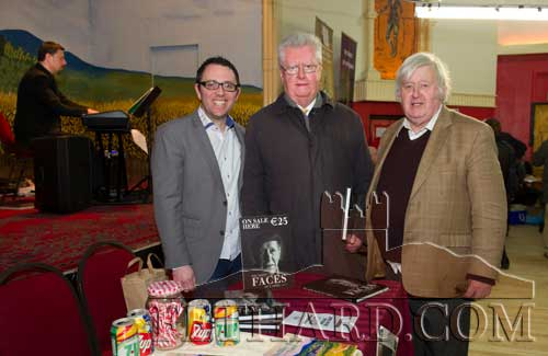 Photographed at the Tipperariana Book Fair in Fethard Ballroom are L to R: Mark Fitzell, Cashel, who recently published his book 'The Many Faces of Cashel'; author Gerard Crotty and Christy Roche. In the background is pianist Eamon O'Malley.