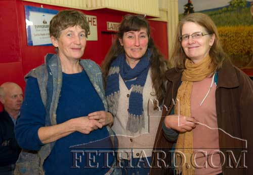Photographed at the Tipperariana Book Fair in Fethard Ballroom are L to R: Dóirín Saurus (Fethard Historical Society), Louise Garcia, author of 'Shelliky-Booky Land', and Theresia Guschlbauer.