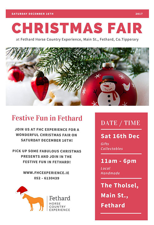 Join us for our first annual Christmas Fair on Saturday December 16th! There will be craft, jewellery and food producers along with vintage and collectable items for you to choose the perfect Christmas present from. Bring a friend or two and enjoy the festive fun in #Fethard! We look forward to welcoming you to our beautiful medieval town! Please help us to spread the word - thank you
