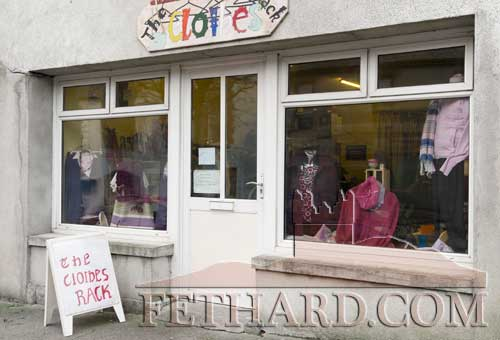Exterior of the 'Clothes Rack' charity shop on Main Street, Fethard, which first opened on September 8, 2010.