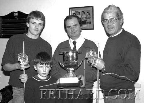 Abymill Snooker - Photographed at the final of The Hayes Cup, handicap competition, L to R: Johnny Murphy (winner), Jimmy Hayes (sponsor), Vincent Woodlock (runner-up) and Richard Hayes (in front).