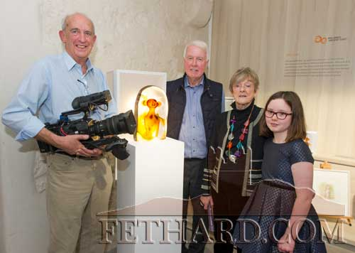 Photographed at the Official Opening of the Sheela na Gig Venetian Glass Sculptures exhibition in FHC Experience Fethard are L to R: Sean Corcoran, Jim Colgan, Carmel Mooney (Artist) and Julie King. Sean and Jim are from Digital Post Production Ltd - Video Production & Motion Graphic Design - creative digital video production facility based in the heart of Dublin offering the full range of production services from initial concept development right through to multi-platform content delivery.