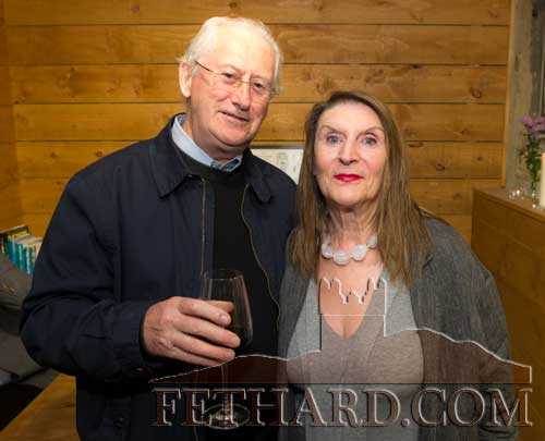 Photographed at the Official Opening of the Sheela na Gig Venetian Glass Sculptures exhibition in FHC Experience Fethard are L to R: David Curran and his wife Frances Curran.