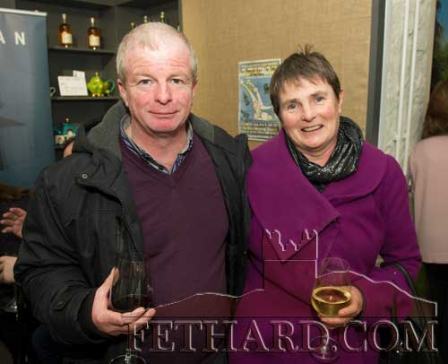 Photographed at the Official Opening of the Sheela na Gig Venetian Glass Sculptures exhibition in FHC Experience Fethard are L to R: Brian Sheehy (Chairperson Fethard & Killusty Community Council) and his wife Noreen Sheehy.