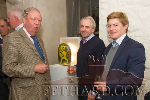 Photographed at the Official Opening of the Sheela na Gig Venetian Glass Sculptures exhibition in FHC Experience Fethard are L to R: Bob Lanigan, Tadhg Gleeson and Peter Steele.