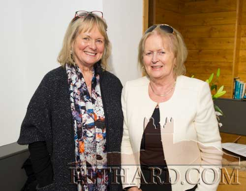 Photographed at the Official Opening of the Sheela na Gig Venetian Glass Sculptures exhibition in FHC Experience Fethard are L to R: Mary Dunne and Ann (Hurley) Corrigan, formerly from Congress Terrace, Fethard.