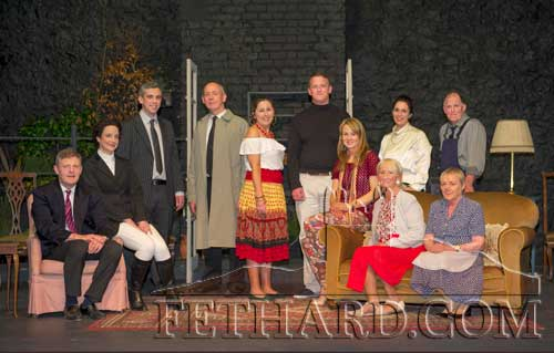 Fethard Players cast of 'Brush With a Body' photographed on the opening night of their very suscessful five-night run in the Abymill Theatre. Back (standing) L to R: Darragh Corbett (Sergeant Bray), John Fogarty (Detective Inspector Hardy), Jane Hayes (Rosita Hernandez), Tom Gilpin (Paul Martell), Mia Treacy (Cynthia Walling), Liam O'Connor (Mr Flaherty). Front (sitting) L to R: Jimmy O'Sullivan (Henry Walling), Lisa Hanrahan (The Hon. Pamela Colefax), Niamh Hayes (Sarah Walling), Marian Gilpin (Sybil Walling) and Mary O'Connell (Mrs D'Arcy).