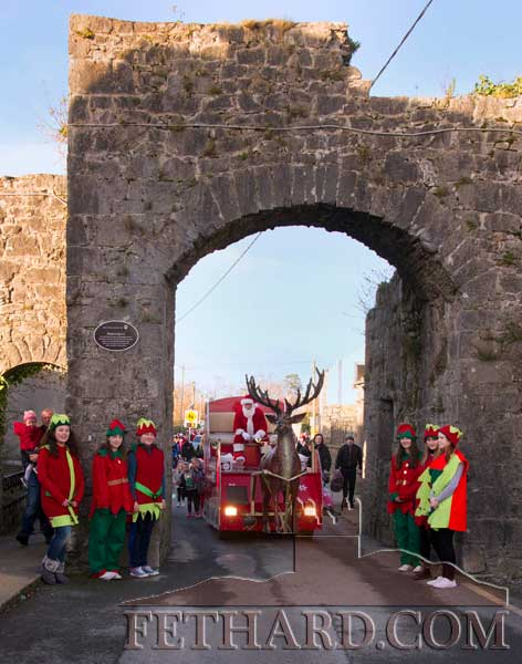 Santa arriving to Fethard by the town's medieval North Gate on Friday, December 8