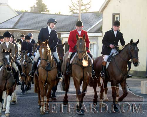 Members of the Ronan family from Rocklow heading off on the New Year's Hunt meet in Fethard.