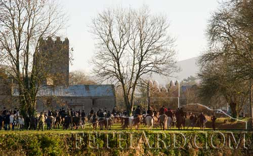 New Year's Hunt Meet gathering at Fethard Town Wall