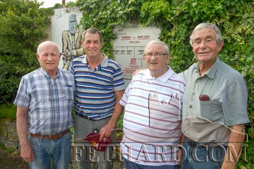 Photographed outside the Village Inn in Moyglass where local information on John 'Red' Kelly and his son, Australian outlaw Ned Kelly, is on display. L to R: Sean Gleeson, Bill Sykes (visitor from Australia), Sean Watts and Michael Clancy from Johnstown, Co. Kilkenny
