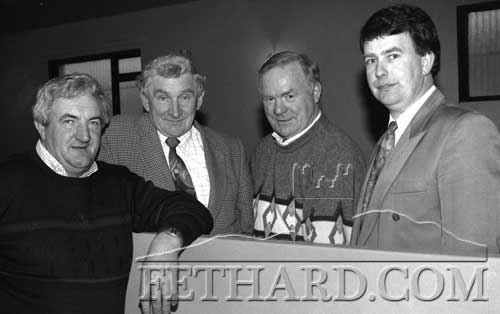 Avonmore Creamery Suppliers Meeting in Fethard on April 6, 1995.  L to R: Mick Aherne, Jim Barry, Tony Lawrence and John O'Flynn.