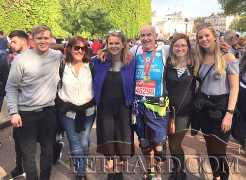 Joe Lacy, originally from Moyglass and now living in Malaysia, photographed on Sunday, April 23, with his family after running his second marathon and, with the help of his supporters, raised £16,685 for Parkinson UK