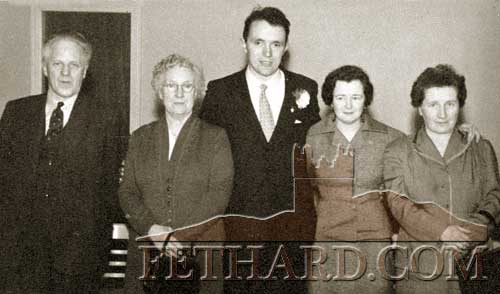 Tony Newport photographed on the occasion of his marriage to Mary Kenny, The Green, in 1958. L to R: Bert Newport, Ciss Newport, Tony Newport, Mary Kenny and Maggie Kenny.