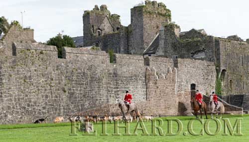 Tipperary Foxhounds arriving by Fethard Town Wall at their Opening Meet on Bank Holiday Monday, October 30.