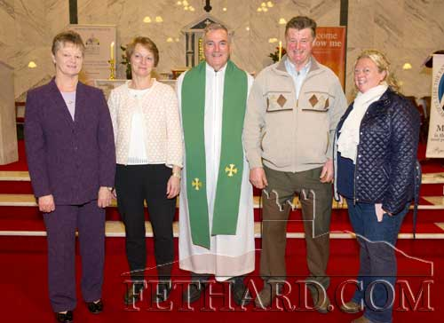 Fethard's new Parish Priest, Fr. Liam Everard, photographed with family members at his installation Mass last weekend in Fethard L to R: Bernie Doheny (sister), Marie Coghlan (sister), Fr. Liam Everard P.P., Ger Everard (brother) and Claire Doheny (niece)