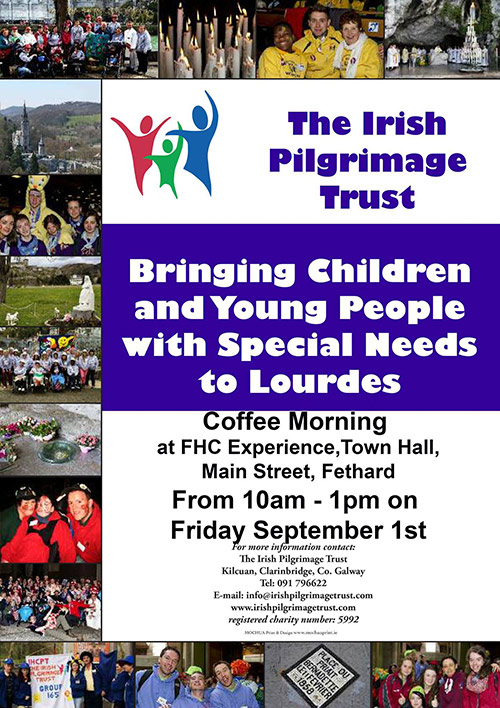 Local man, Kevin Coffey, is holding a Coffee Morning to raise funds for the The Irish Pilgrimage Trust in our Stable Café this Friday September 1st from 10am - 1pm! Please come and support!