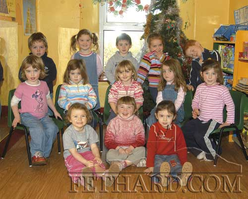 Children from Fethard Community Playgroup, December 2005. Back L to R: Sean Walsh, Caoimhe O'Meara, Ben Coen, Matilda Magnier, Cathal O'Mahoney. Middle Row L to R: Keylin O'Donnell, Chloe Nolan, Alison Connolly, Lucy Cummins, Lucy Spillane. Front L to R: Hanna Dolan, Maggie Fitzgerald and Leah Coen.