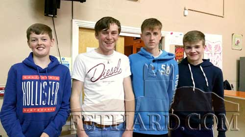 Winners of the Junior Section at the Patrician Presentation Parents' Association Table Quiz L to R: Keenan Aherne, Jack Spillane, Darragh Hurley and Keith Morrissey