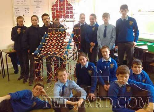 First Year Pupils from Patrician Presentation working on their KNE'X project. They constructed a working Basketball Station from KNE'X using their mathematical knowledge of area, geometry and trigonometry.