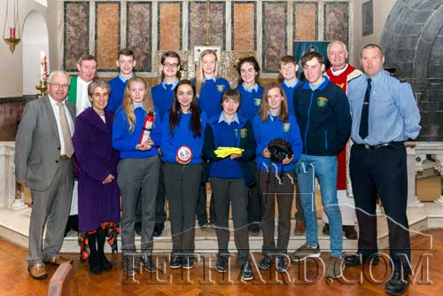 Students from Patrician Presentation Secondary School who participated at the World Day for Road Traffic Victims special service of remembrance celebrated in the Augustinian Abbey, Fethard. Included with Fr. Gerry Horan OSA and Iggy O'Donovan OSA (Prior), are Marie Maher (teacher), Deputy Mattie McGrath and Garda Shane O'Neill.