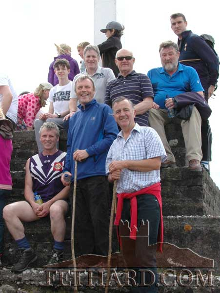 Fethard GAA members and past players photographed at the Holy Year Cross on Slievenamon, includes Willie Morrisssey, Noel Byrne, John Keane, Willie O'Meara, Paddy Kenrick and Gerry Fogarty