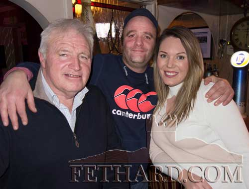 Enjoying a social night out in Fethard are L to R: Davy Morrissey, Val O'Dwyer and Sarah Standbridge.
