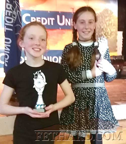 L to R: Fiona Barry, Tullamaine, who took first place on the U10 Credit Union Talent Competition last Sunday in Clonmel, and Tara Moquet, Fethard, who was runner-up. Well done to both.