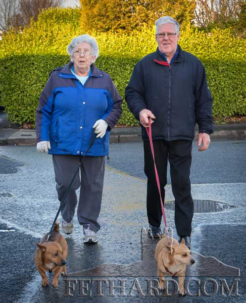 Patricia and Pat Byrne, The Green, Fethard, taking advantage of the mild weather by taking their dogs for a walk.