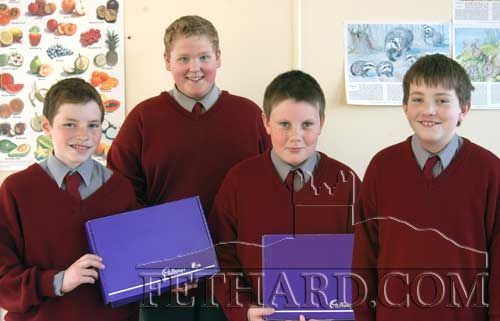 St. Patrick's Boys School Quiz Team on March 26, 2003 – Fethard's St. Patrick's Boys School quiz team who came third in the final of the National Parent's Council, South Tipperary Cadbury Challenge Primary School's Quiz. held in Thurles. L to R: Darragh Dwyer, Dave Gorey, Sam Manton and Colm Horan.