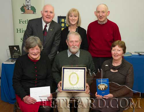Members of the Boherlahan-Dualla Historical Journal editorial committee photographed at the presentation of the Tipperariana 'Book of the Year' award for 2017, in the Abymill Theatre on January 26. The annual award, organised by Fethard Historical Society, is associated with their annual Tipperariana Book Fair which takes place this year on Sunday, February 11, in Fethard Ballroom, from 2pm to 6pm. Back L to R: Tom Wallace, Mary Ryan, Paddy O'Dwyer. Front L to R: Margaret Leahy, Tom Ryan (chairman) and his sister Marian Ryan.