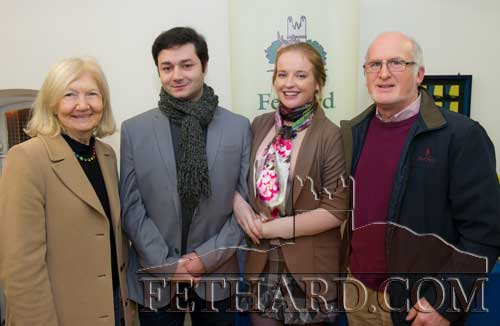 Photographed at the presentation of the Tipperariana Book of the Year award for 2017, in the Abymill Theatre on January 26, are L to R: Breda Lee; Holly Williamson and Stefan Jordan (JW Productions) who performed at the reception afterwards; and Chris Lee.