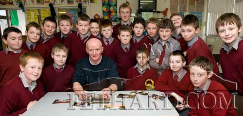 Pupils of St. Patrick's Boys National School Fethard photographed with Eamon Quirk from Bóthar who spoke and answered questions on life in Uganda and Tanzania. March 10, 2008.