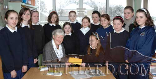 Alice Leahy, founder member of TRUST Charity, photographed with 6th Class pupils of Nano Nagle Primary School where she spoke on the homeless people in Ireland as part of their 'Challenge for Change' school project. The pupils made a donation of €500 to the TRUST Charity. March 3, 2008.