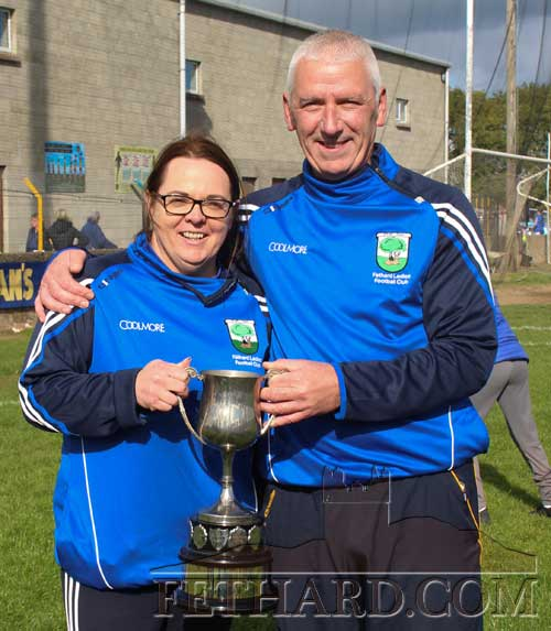Team coaches Sharon O'Meara and Chris Coen with the County Intermediate Ladies Football Cup