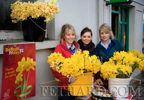 Pupils of Fethard Patrician Presentation Secondary School helping out with 'Daffodil Day' sales outside the Post Office. A new record collection this year amounted to €3,260. L to R: Samantha Morrissey, Carrie Sweeney and Sarah Conway. March 7, 2008