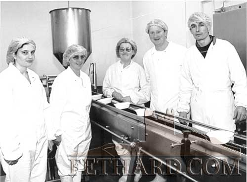 Dawn Foods Production Line 1995 L to R: Marian Thompson, Ann Looby, Annette Fox, David Purcell and John Kelly.