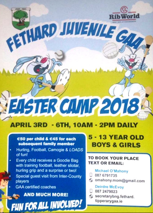 Following on from the great success and positive feedback. Fethard Juvenile GAA are hosting an Easter Camp for children from 5 to 13 year olds, taking place from Tuesday, April 3, to Friday, April 6. The camp will open from 10am to 2pm daily for boys and girls.  To book your place or for further details, contact Michael O'Mahoney 087 6791735 or Deirdre McEvoy 087 2479023.