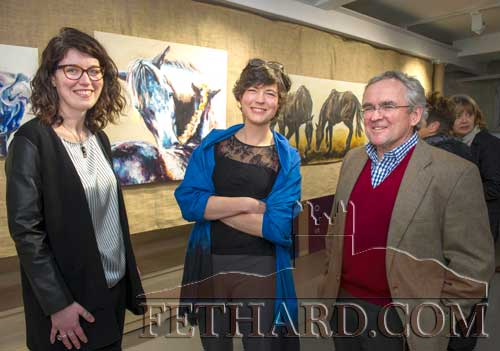 Photographed at the 'Moody Mare' exhibition at FHC Experience, Fethard, are L to R: Shannon Forrest, Manager at FHC Experience, Fethard, Co. Tipperary; artist Sophie Carpentieri; and artist Peter Curling, who officially launched the exhibition on Thursday, April 5, in Fethard. The exhibition continues in Fethard Horse Country Experience, until April 27, open from Tuesday to Saturday from 10am to 4pm.