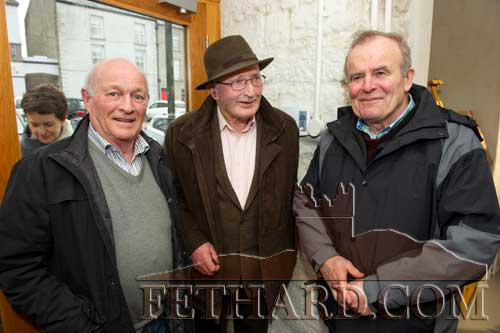 Photographed at the official opening of artist Sophie Carpentieri's 'Moody Mare' exhibition at FHC Experience, Fethard, are L to R: Sean Gleeson, Toby Purcell and John Fahey.