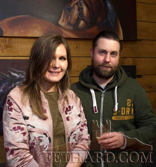 Photographed at the official opening of artist Sophie Carpentieri's 'Moody Mare' exhibition at FHC Experience, Fethard, are L to R: Guna Spundere and Tom Martin.