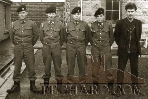 FCA group taken at Kickham Barracks in 1965. L to R: Tom Ryan (Carrick-on-Suir) John Fogarty (Fethard), Pat Lonergan (Carrick-on-Suir), Connie Coen (Fethard) and Willie Moroney (Carrick-on-Suir).