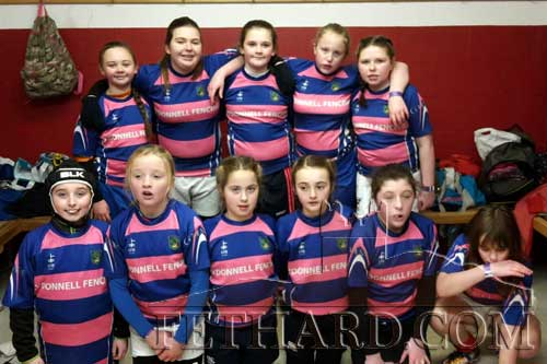 Fethard U12 girls played at Munster Rugby's time match in Thomand Back L to R: Katie Clancy, Millie O'Hallorhan, Ciara McCarthy, Jamie Ferncombe, Zoë Prout. Front L to R: Aoife Bryne, Ciara Fitzpatrick, Emmaleigh Cuddihy, Aine Connolly, Amy Costigan and Phillie Gillman.