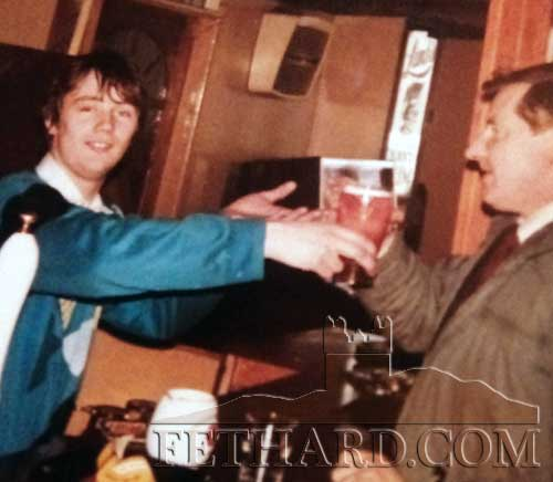 Breda Kearney posted this photo of her late brother, Francis Kearney photographed with Jimmy Higgins in Lonergan's Bar in 1985.