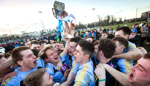 The jubilant UCD players celebrate their second Sigerson Cup win in three years. UCD Team included: Charlie Manton (Tipperary); Peter Healy (Antroim), Cillian O'Shea (Dublin), Conor Mullally (Dublin); Luke Fortune (Cavan), Jimmy Feehan (Tipperary), Stephen Coen (Mayo); Barry O'Sullivan (Kerry), Jack Barry (Kerry); Liam Casey (Tipperary) (0-03), Conor McCarthy (Monaghan) (1-06, 0-03f), Brian Byrne (Kildare); Eoin Lowry (Laois) (0-02), Evan O'Carroll (Laois) (0-01), Con O'Callaghan (Dublin) (0-01).