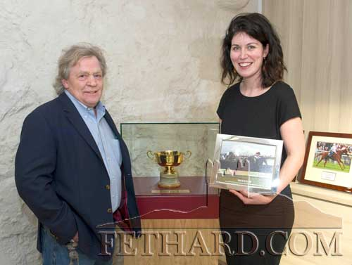Mouse Morris photographed after unveiling his Cheltenham Gold Cup, won by 'War of Attrition' in 2006, and gifted to FHC Experience, Fethard, where it will remain on display in a bespoke cabinet. Also included is Shannon Forrest (Manager FHC Experience).