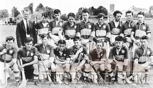 Fethard Minor Hurling Team beaten in the 1947 Final by Ballybacon at Clonmel. Back L to R: Mikie Cummins, Paddy O'Sullivan, Seán O'Donnell, Bobbie Hall, Joe O'Donnell, Michael Quirke, Tony Newport, Michael Henehan, Jimmy O'Donnell. Front: P. Shanahan, Joe Clarke, Richard Quirke, Cly Mullins, Willie Morrissey, Buddy Sayers, Jim Barry and Seán Walsh.