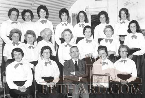 Fethard ICA Choir winners of the Rural Choir Competition for Small Towns at the Cork Municipal School of Music in April 1964. Back L to R: Mrs Lawless, Maggie Fox, ?, Alice Stapleton, Helen Lawless, Nellie Tobin, Bernie Whyte. Middle L to R: Helen O'Connell, Josie Casey, Olivia Hughes, Mrs Hazelton, Goldie Newport, Mrs Madigan, Jill Maher. Front L to R: Chrissie Byrne, ?, Colm Cleary, La Walsh and Mary Byard.