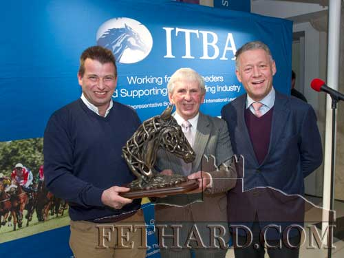 Gerry Ross (left), ITBA Southern Regional Committee Chairman, presenting the Contribution to the Industry Award was to Mr James Mulcahy, Kilshane, Co. Tipperary. Also included is Shane O'Dwyer (right), CEO Irish Thoroughbred Breeders Association (ITBA).