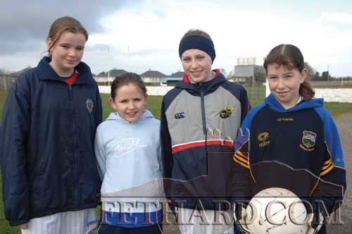 Photographed at the training session for Fethard Ladies Football on March 10, 2007 are L to R: Jade Pattison, Laura Ryan, Áine Phelan and Amy Pollard.